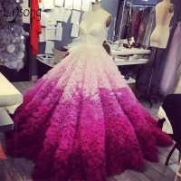 Gorgeous Mix Color Ruffles Wedding Dresses Puffy Tiered Custom Made Bridal Ball Gown Off Shoulder Backless