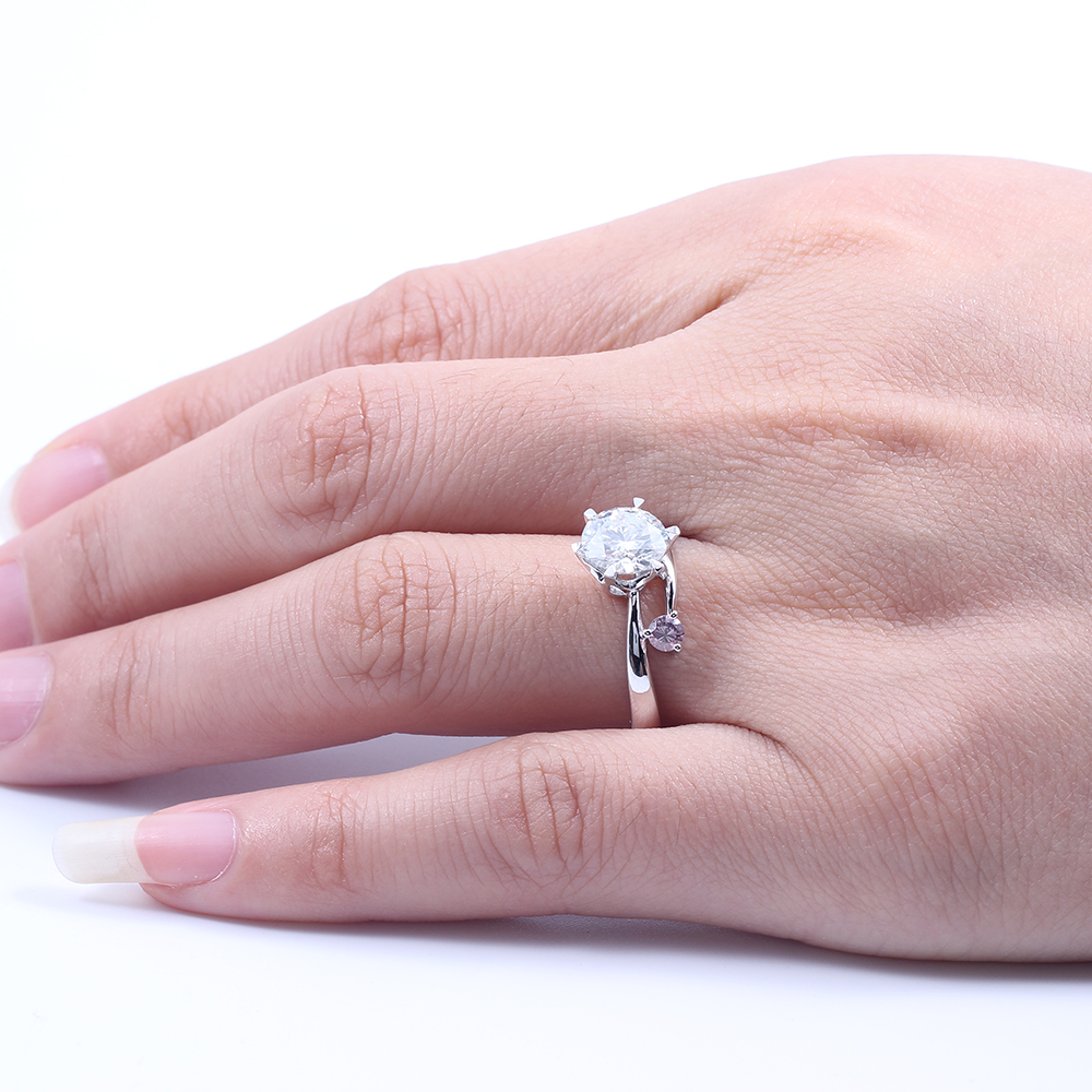 1.5 Carat ctw G H F Color Moissanite Engagement Wedding Ring With ...