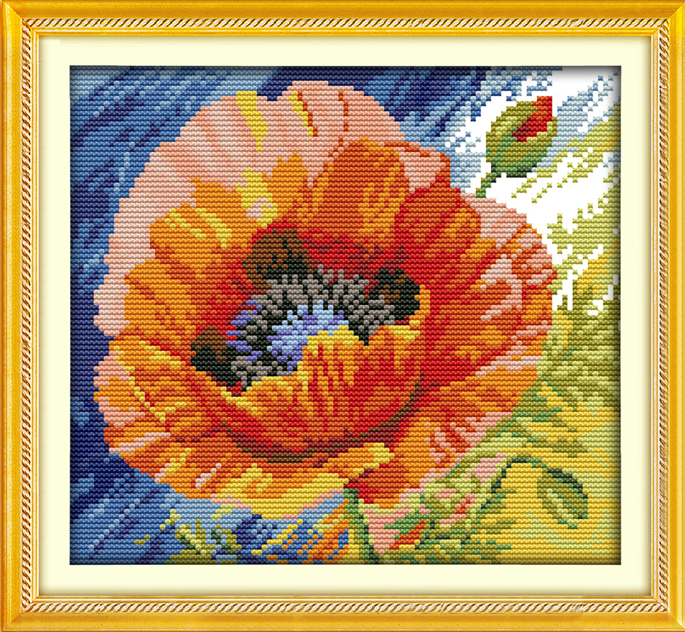 Poppy Red Flowers Beautiful Home Decor Counted Print On Canvas