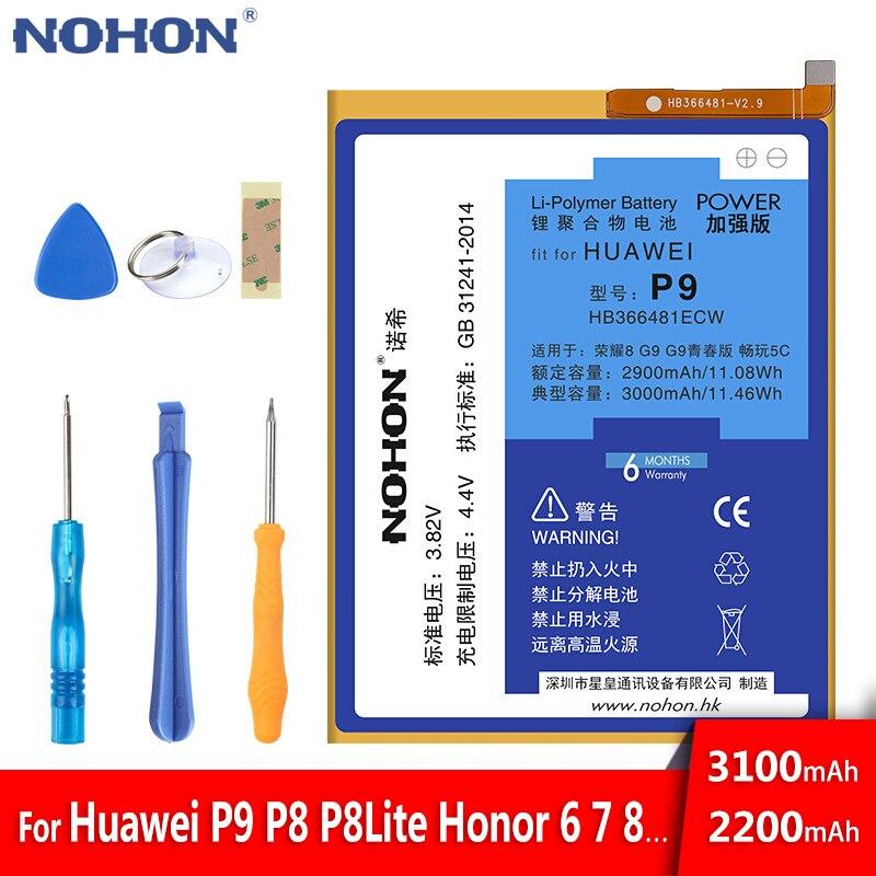 2017 Original NOHON Battery For Huawei P9 G9 G9 Lite Honor 8 5C HB366481ECW Li-Polymer Replacement Batteries Bateria 3000mAh visa