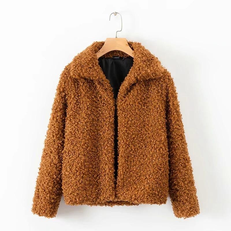 Cardigan 2018 Coat Teddy Fur Winter Khaki Jacket Long Women Thicking Streetwear Sleeve Warm Faux Loose Oversize Outwear 75xwnFxZ