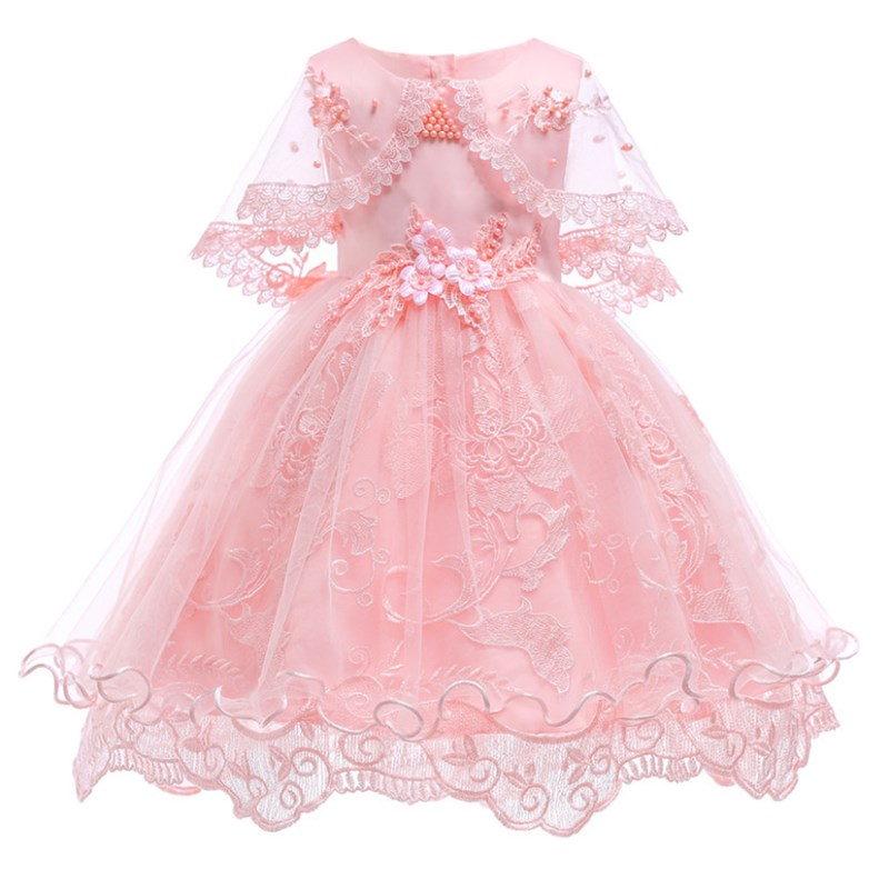 Girls Dresses Princess Birthday Party Girls Clothes Pearl Flower Sleeveless Wedding Dress Ball Gown For Baby Girls baby girls red long sleeve full dress ball gown golden flower party wedding special princess kids dresses for girls clothes