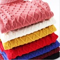 Bebé jerseys para niños suéter de las muchachas niños rojo azul amarillo blanco negro 2015 del cuello alto invierno ropa barata de los niños