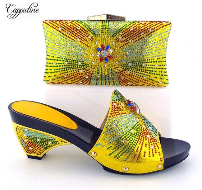 Великолепный желтый специальные высокий каблук сандалии без шнуровки обувь и кошелек сумочка комплект со стразами 121-2 высота каблука 8 см