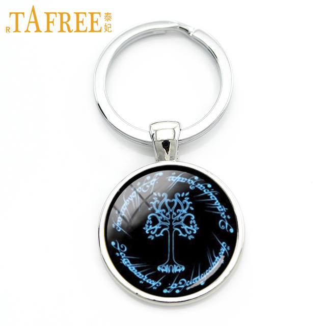 TAFREE Stylish Lord of the R key chain ring romantic charm blue White Tree of Gondor keychain pop fans gifts Shall Be King KC654