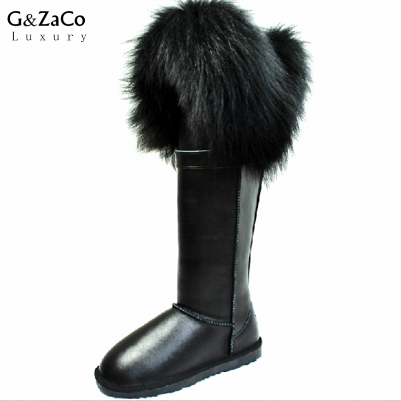 цена на G&Zaco Luxury Knee High Snow Boots Natural Black Fox Fur Long Boots Cow Genuine Leather Waterproof Thick Warm Women Winter Shoes
