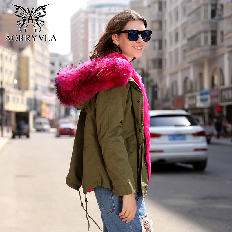 AORRYVLA Winter Jacket Women Parka Natural Raccoon Fur Collar Hooded With Detachable Faux Fur Lining Short Casual Winter Jacket faux rabbit fur brown mr short jacket sleeveless with big raccoon collar fall coat