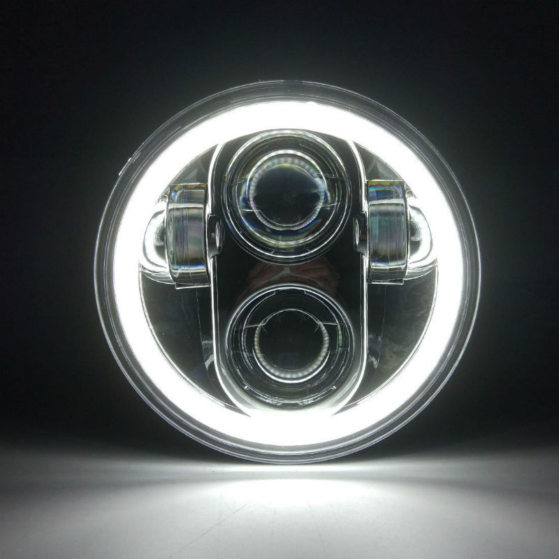 White DRL High Low Beam Halo Projector <font><b>LED</b></font> Headlight 5.75 Inch for Sportster Iron <font><b>883</b></font> Dyna Triple Wide Glide Low Rider image