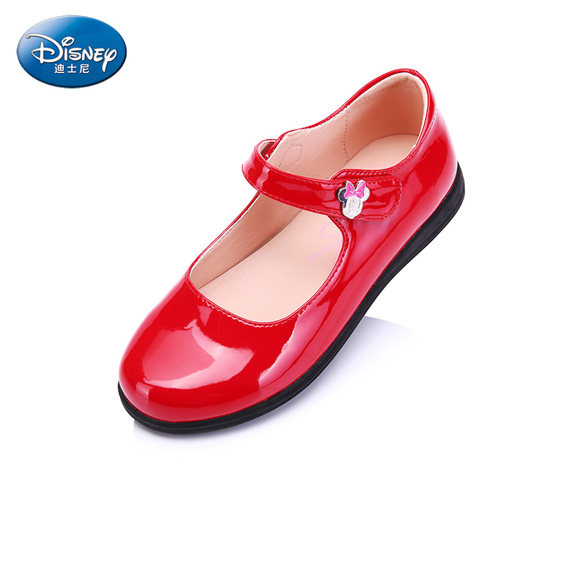 Disney  Sweet Candy Girl Flat shoes Cute  Patent leather Glitter Buckle Rubber Red  Princess Shoes DS1937 sky blue red leather princess girl sweet lolita wedge mary jane shoes