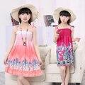 3-14Y crianças flor vestido meninas de verão vestido de praia infantil floral vestidos de verão