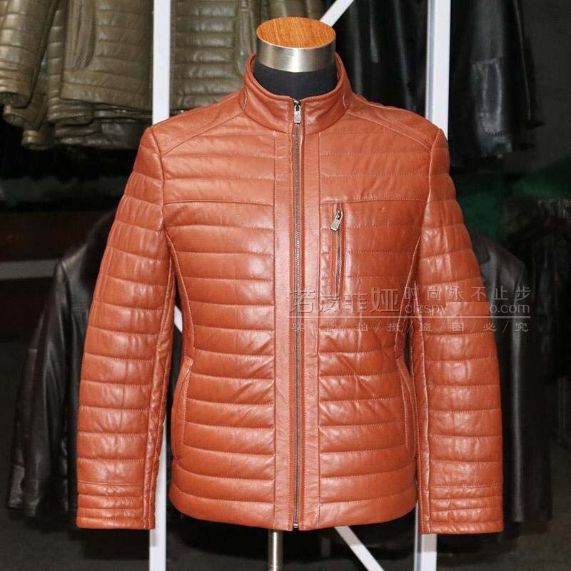 new 2018 high quality mens casual genuine sheepskin leather duck down coat winter short jacket for males orange plus sized xxxl