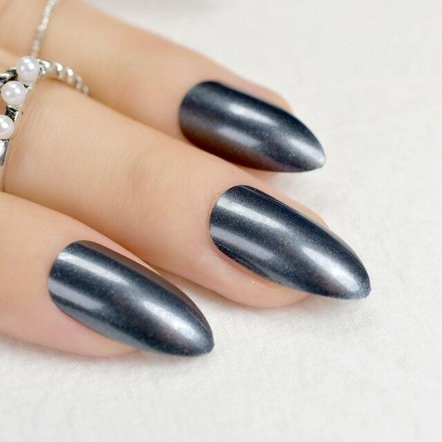 Stilettos Sharp Nails Shimmer Black False Nail Pointed End Fake Acrylic Stiletto Art Faux
