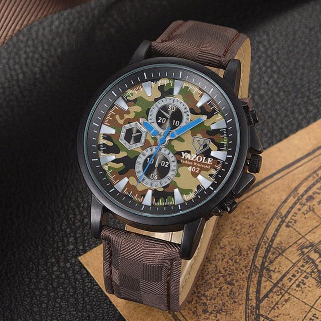 fa7ac7f4bc46 YAZOLE militar camuflaje cuarzo reloj hombres marca famoso reloj de pulsera  ejército relojes de pulsera para