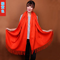 2015 New Orange Chinese Women's Fashion 100% Wool Pashmina Scarf Cashmere Shawl Tassels Wrap Solid Color Free Shipping