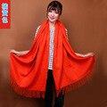 2015 nova orange moda das mulheres chinesas 100% lã pashmina cashmere scarf shawl borlas envoltório cor sólida frete grátis