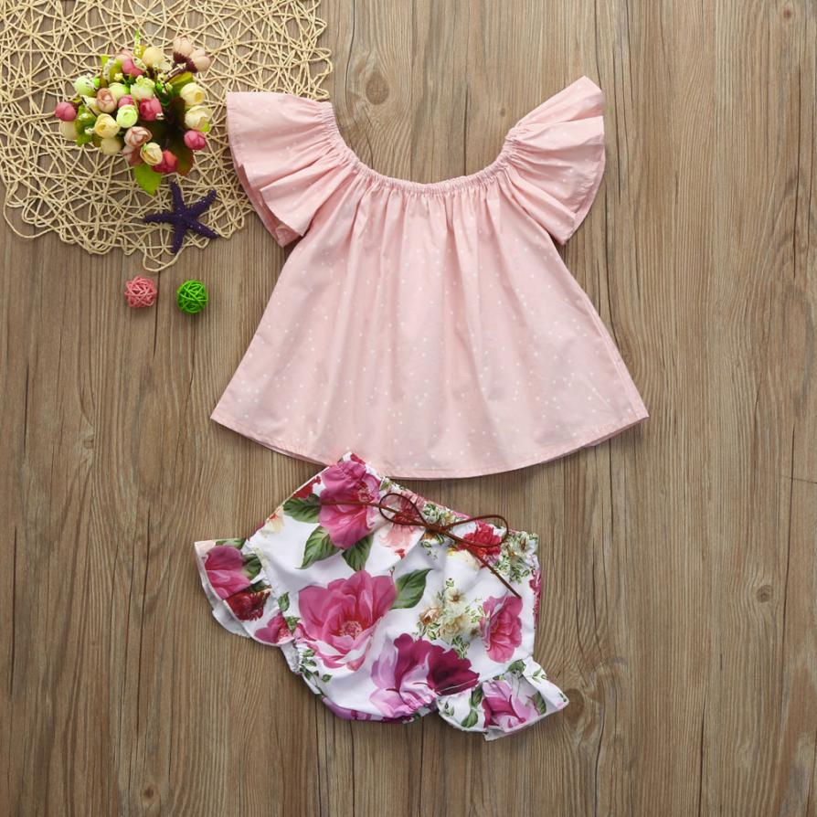 2pcs summer clothes for baby girls Infant Toddler Flare Floral short sleeve pink Tops dress + Shorts clothes Set Outfits infant toddler kids baby girls summer outfit cotton striped sleeveless tops dress floral short pants girls clothes sunsuit 0 4y
