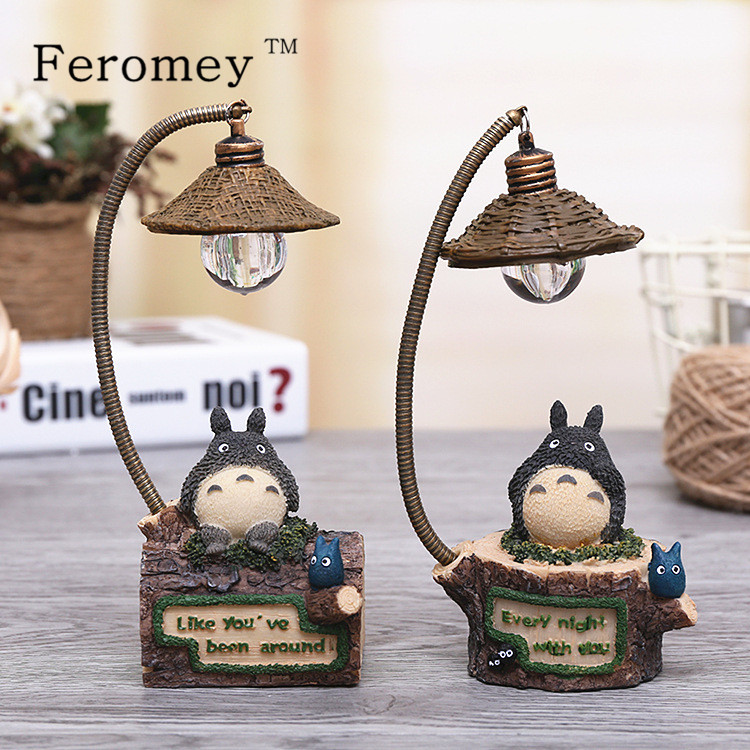 Japanese Anime My Neighbor TOTORO LED Night Light Children Kids Toys Studio Ghibli Miyazaki Hayao Totoro Action Figure Toys 1set miyazaki hayao my neighbor anime totoro figure totoro mei fairy dust resin action figure toy gifts for garden home decor