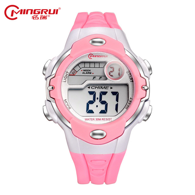 MINGRUI Fashion Kids Waterproof Silicone Digital Watch Children Watches Boy Girl Luminous LED Watch Alarm Hour montre enfant