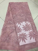 Nigerian Lace Fabric 2018 High Quality Lace African Lace Fabric With Beads Embroidery French Lace Fabric