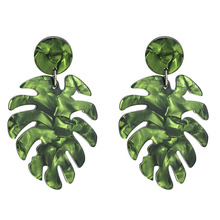 Women Lady Acrylic Tropical Monstera Leaf Earrings Statement Drop Dangle Earrings For Women Trendy Jewelry Party Accessories данилов александр анатольевич история россии 6 7кл учебник