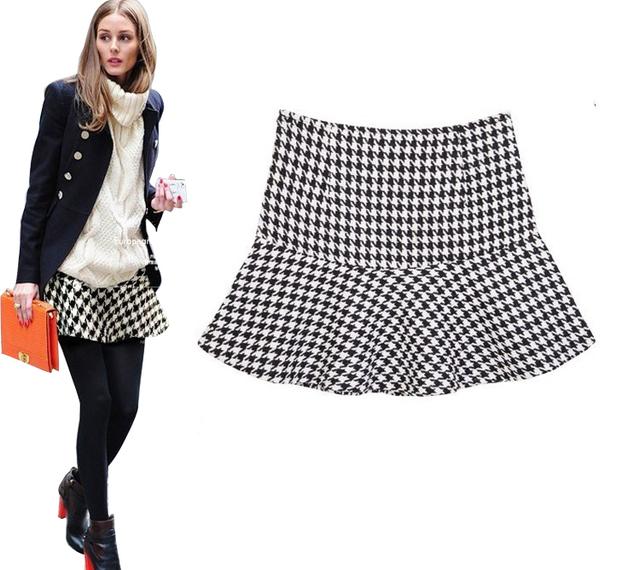 2016 nova moda primavera outono e inverno OL padrão geométrico Chiffon Ruffles curto saias senhoras saia vestido de baile