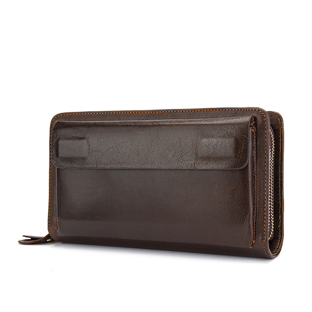 Genuine Leather Men Wallets Purse Long Vintage Card Holder Zipper Coin Purse For Men Large Capacity Passport Cover Clutch Male