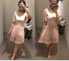 women's thick pleated dress 2016 autumn fashion high quality flare sleeve pink wool knitted pleated stretch dress for women