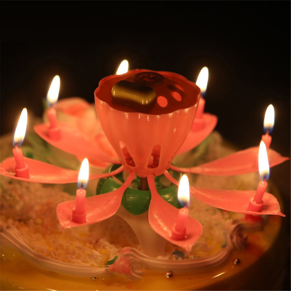 Birthday Candle Blossom Lotus Flower Candles Party Cake Music