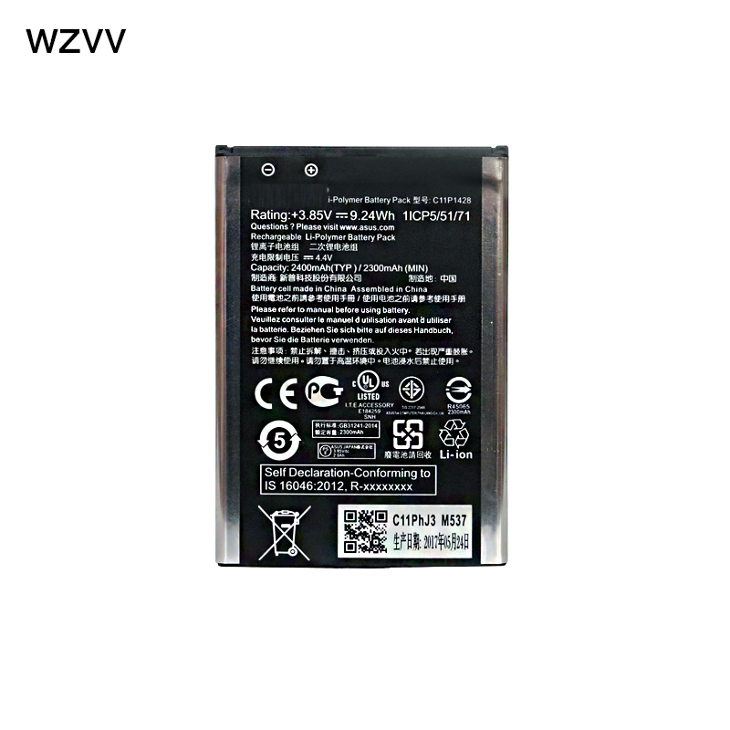 wzvv New 2400mAh C11P1428 Battery for Asus Zenfone 2 Zenfone2 Laser ZE500KL ZE500KG phone battery