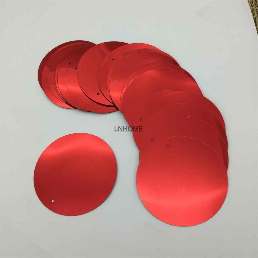60 adet Büyük Yuvarlak Pul 50mm PVC Düz Paillette Dekorasyon 1 Yan Delik Dans Elbise Için Kırmızı Payetler
