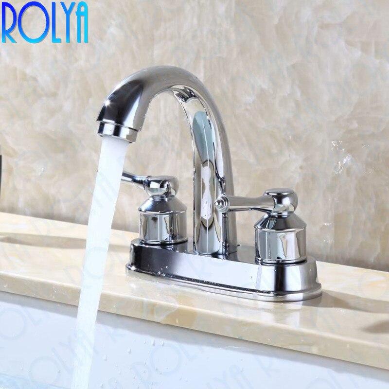 Rolya Chrome centre de table robinet de lavabo salle de bain Style moderne mitigeur de lavabo