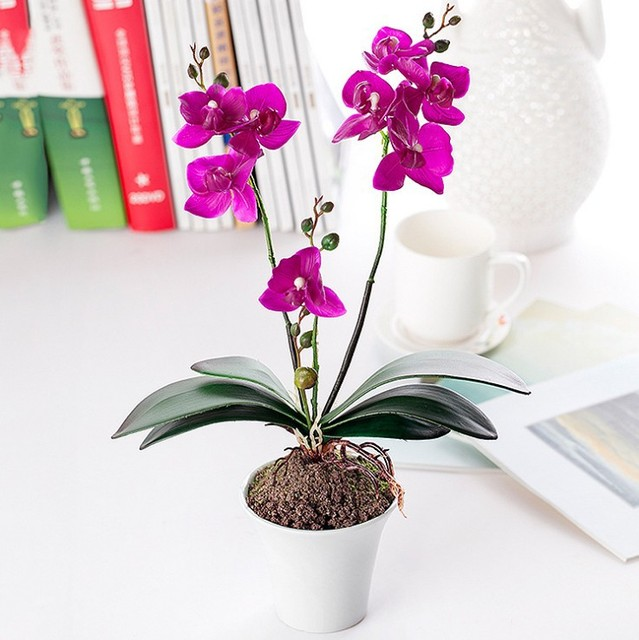 Indoor Potted Landscape Fake Flower Bonsai real touch Butterfly ...