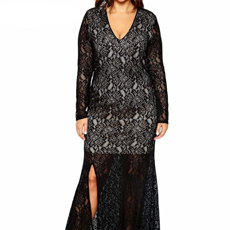 Autumn Winter Women V-neck Full Lace Vintage Big Plus Size 8XL Long Maxi Dress (3)
