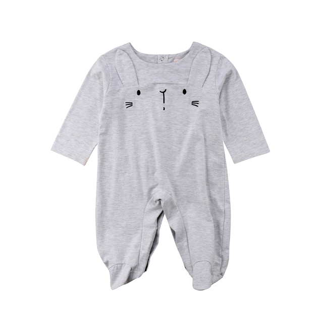 0d76c31b5f49a 2018 Emmababy Sweet Newborn Baby Girl Boy Cartoon 3D Ear Home Long Sleeves  Gray Romper Jumpsuit Outfits Autumn Clothes