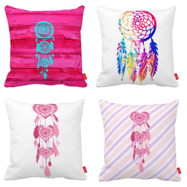Hipster Girly Heart Dreamcatcher Print Car Decorative Throw Unique Girly Decorative Pillows
