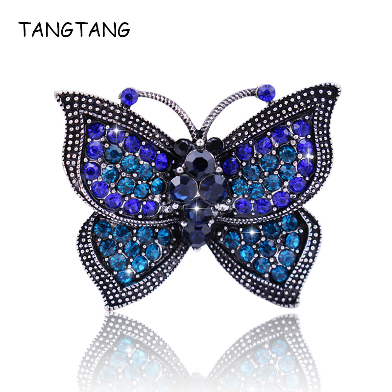 Classic Vintage Cute Blue Rhinestone Butterfly Brooches Metal Antique Silver Insect Brosche Women Wedding Bridal Pin New, BH8350