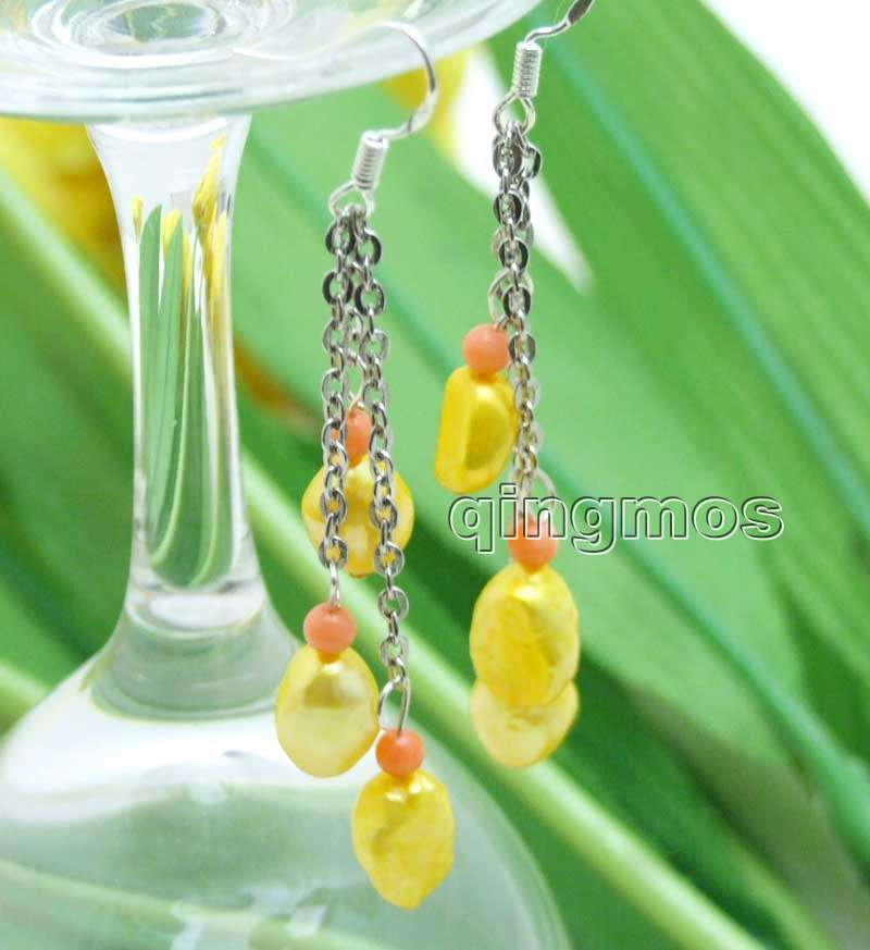 Qingmos 3 Pieces Natural Pearl Earrings for Women with 7-9mm Yellow Baroque Freshwater Pearl Dangle 3 Earrings Jewelry e541