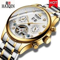 HAIQIN männer Uhren 2019 Luxus Casual Gold Männer Maschinen/Automatische/Wasserdicht/Militär/Sport/Alle stahl/Uhr Männer-in Mechanische Uhren aus Uhren bei