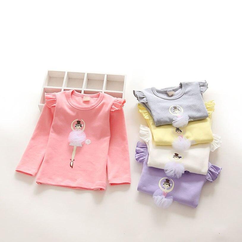Children Girl T Shirt New Spring Tshirts For Girl Long Sleeve T Shirt Lace Brand Printing Roupa Infantil Kids T Shirts