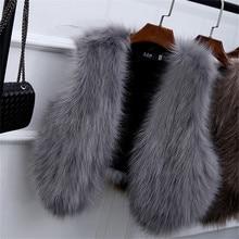 GOPLUS 2016 New Winter Women's Faux Fox Fur Vest Long Furry Shaggy Woman Fake Fur Vest Fashion Plus Size Fur Vests High Quality