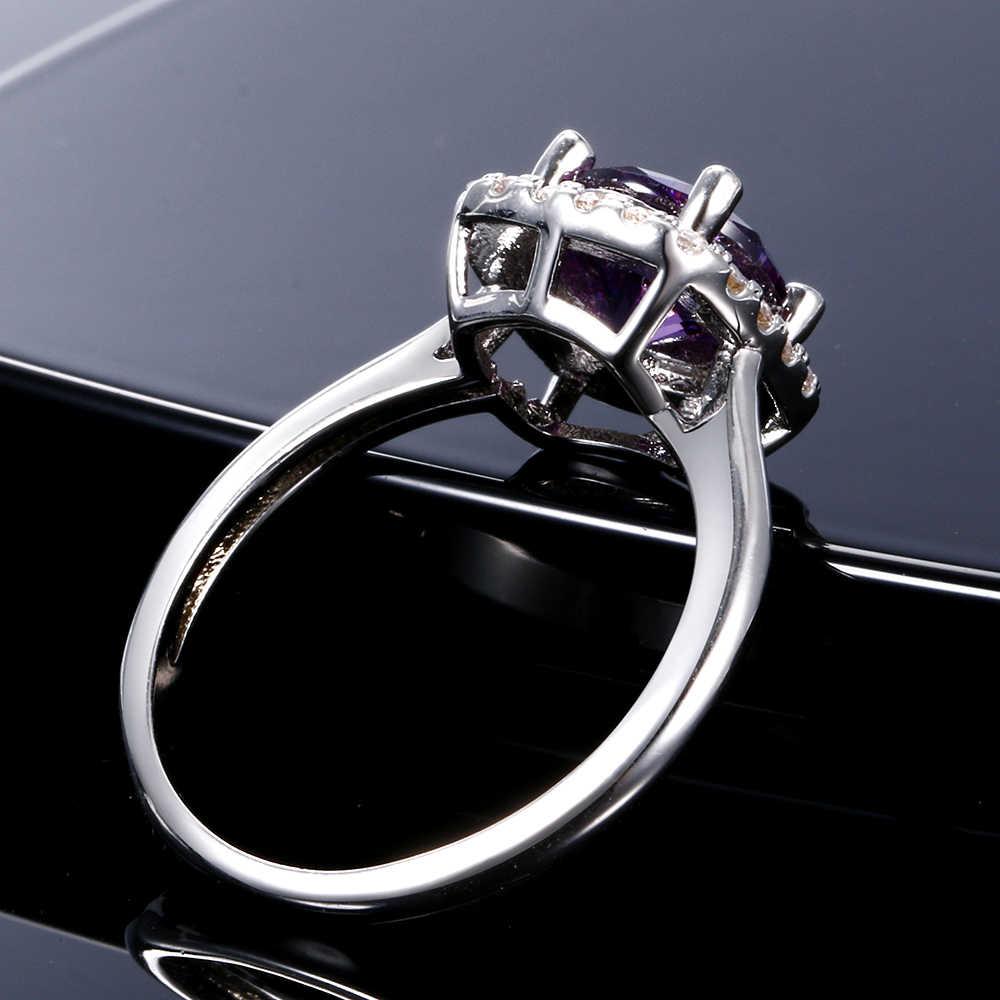 Nasiya Classic Halo สร้างอเมทิสต์หมั้นแหวนเงินสเตอร์ลิงเงิน 925 Lab Grown สีม่วงแหวนพลอย