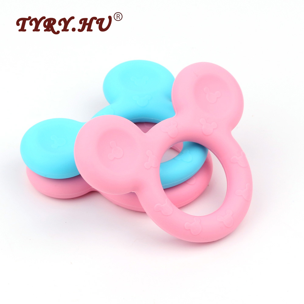 TYRY.HU Mickey Mouse Baby Teether Silicone Beads 5pcs Candy Color Baby Bite Teething Toys Chew Pendant XMAS Nursing Shower Gifts
