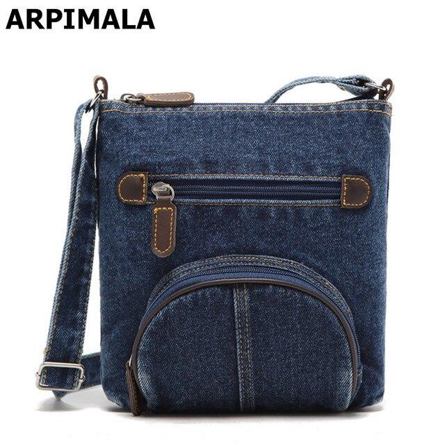 Arpimala All Match Preppy Style Casual Denim Messenger Bag Men Jean Over The Shoulder
