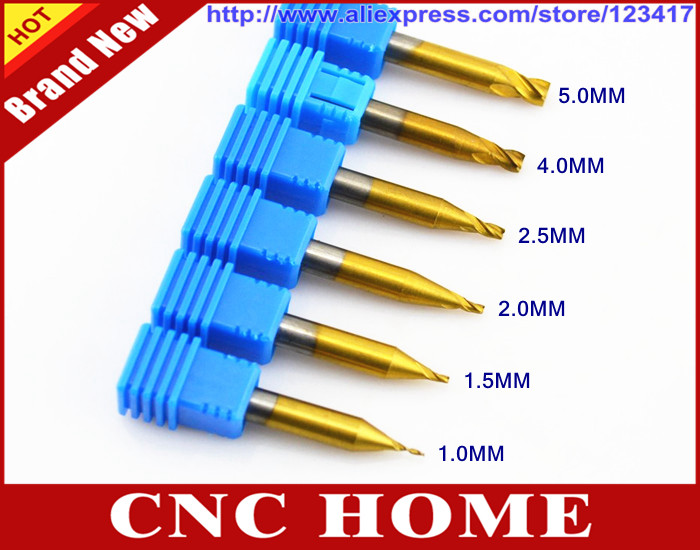 2 Pieces Titanium Coated Key Cutting Machine Tool End Milling Cutter 2mm