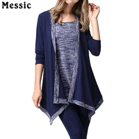 Messic 2016 New Autumn Tops For Women False Two Piece T Shirt Long Sleeve Unique Flattering