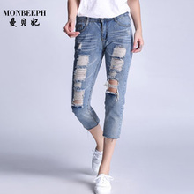 2017 new fashion casual plus size vintage boyfriend women denim ripped hole capris jeans pantalones vaqueros mujer pants trouser
