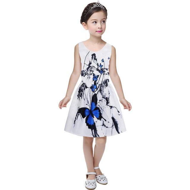 e125de658 € 11.52 |2018 vestido de verano para niña mariposa floral impresión  adolescentes chica vestido casual vestido niña ropa sin mangas vestidos en  ...