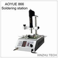 The new Aoyue 866 SMD soldering iron station with hot air gun BGA rework 110V/220V 3 in1 hot air rework pre heater