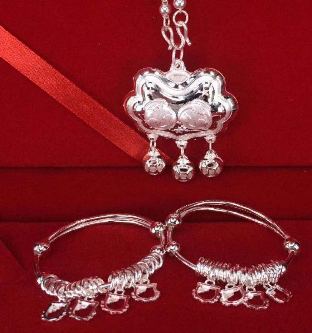 Sterling S990 990 pendentif en argent collier bracelet bébé enfant garçon fille bijoux ensembles en argent bracelet de style chinois
