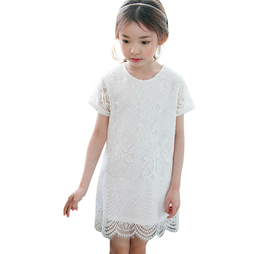 toddler girl dresses 2017 new summer dress girl short sleeve lace kids party dresses white and pink girls princess costume 4-11T